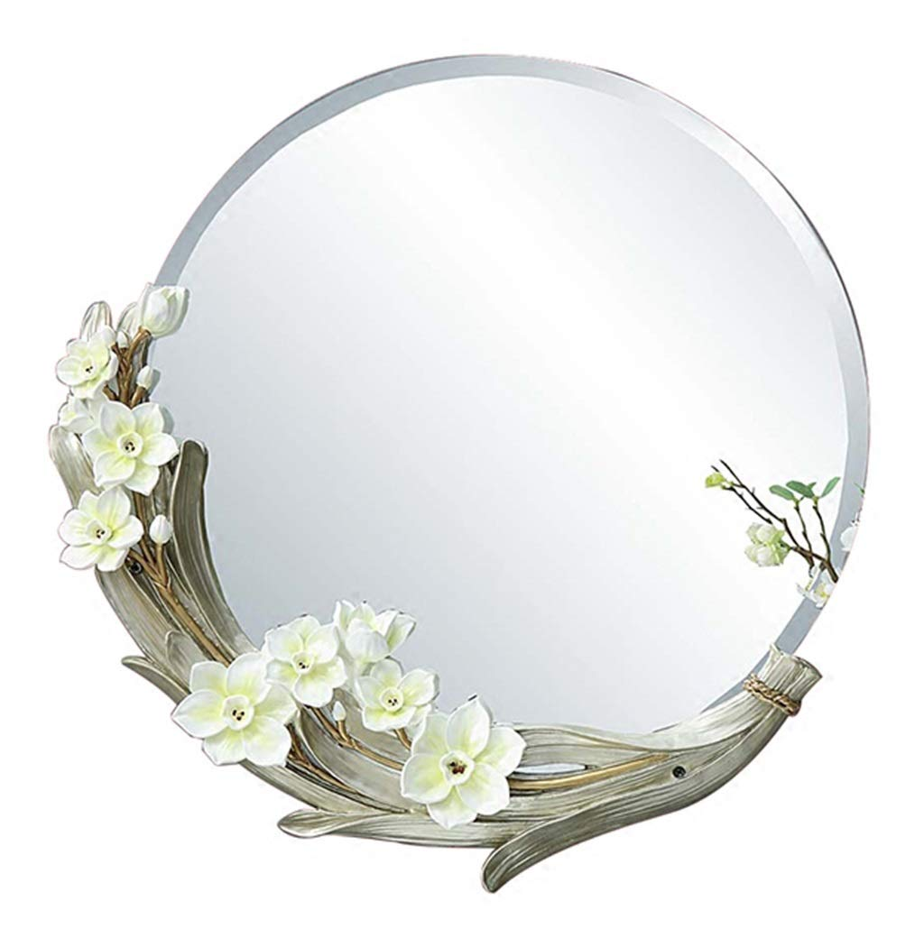 1 Beveled Round Wall Mirror   Bathroom Vanity Living Room Bedroom Manual Carving Decorative Mirror HD Silver Mirror (22-inch)