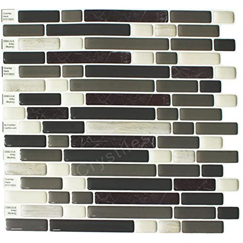 "durable modeling Crystiles® Peel and Stick Self-Adhesive Vinyl Wall Tiles, Item# 91010820, 10"" X 10"", Set of 6"