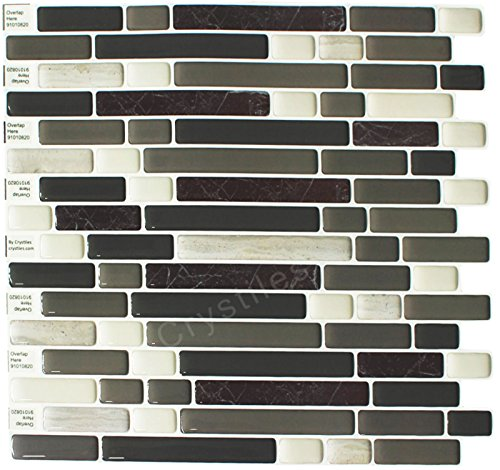 Crystiles Peel and Stick Self-Adhesive DIY Backsplash Stick-on Vinyl Wall Tiles for -