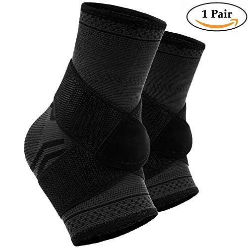 Beister 2 Pack Ankle Brace Compression Support Sleeve with Adjustbale Straps for Women and Men, Elastic Sprain Plantar Fasciitis Foot Socks for Injury Recovery, Joint Pain, Achilles Tendon, Heel Spurs