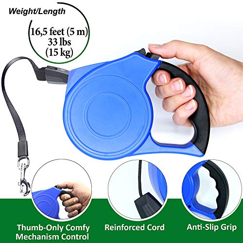 - Retractable Dog Leash - Pet Dog Cat Leash Retractable - Long Dog Leash 16 ft for Small Medium Breed up to 44 lb - Durable Walking Training Leash for Dogs Cats Puppy - Best Retractable Leash Cord Blue