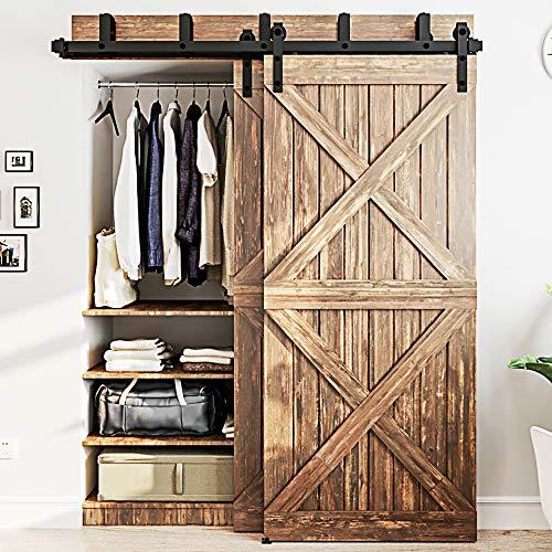 WINSOON-4FT-16FT-Metal-Sliding-Bypass-Barn-Wood-Door-Hardware-Kit-System-Bending-Design-Wall-Mount-Bracket-Fit-Double-Wooden-Doors-5FT