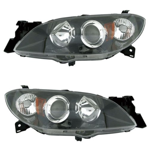 2004-2009 Mazda 3 Hatchback 2.3L 4Cyl (Excluding Speed Models) Headlight Headlamp Front Head Light Lamp Pair Set Left Driver AND Right Passenger Side (04 05 06 07 08 09)