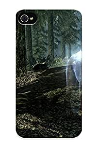 New Arrival Premium Apple Iphone 4/4S Case Cover (skyrim Elder Scrollsdigital Art Screenspopular Animals Wolf Wolves Landscapes Nature Forest Trees Fantasy )