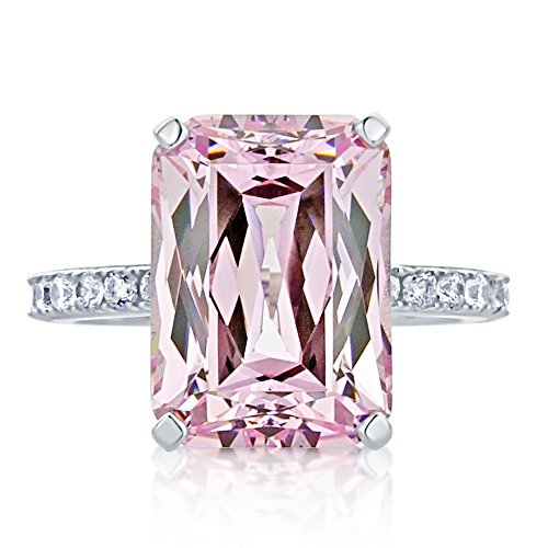 HB AMERICA Sterling Silver Emerald Cut 8.5ct Super Light Pink CZ Cocktail Ring 13MM (Size 5 to 10), 7