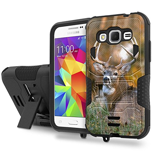 Galaxy [CORE Prime] Tough Case [SlickCandy] [Black/Black] Hybrid Combat [Kick Stand] [Shock Proof] - [Deer] for Samsung [CORE] Prime / [Prevail LTE 2015 Version]