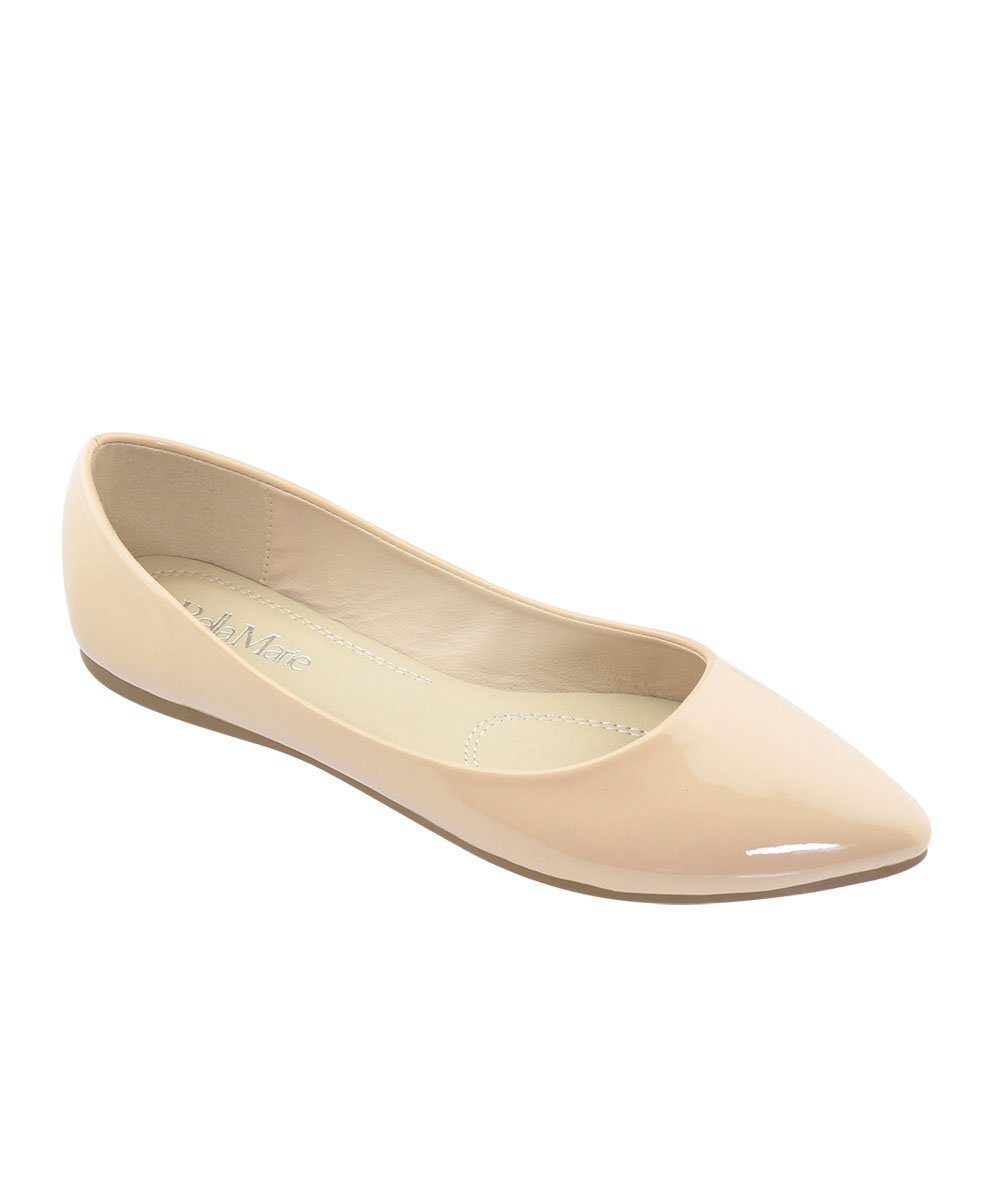 BellaMarie Angie-28 Women's Classic Pointy Toe Ballet Flat Shoes ( B(M) US, Nude Patent) (6)