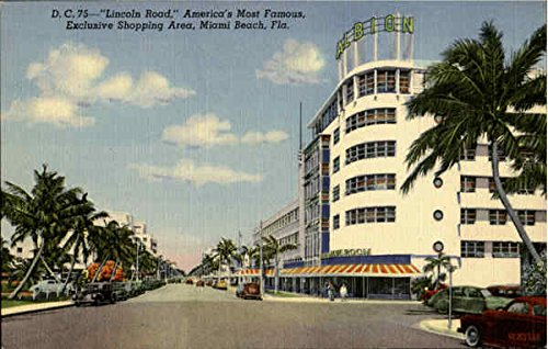 Lincoln Road ,America's Most Famous Exclusive shopping Area Miami Beach, Florida Original Vintage - Shopping Lincoln Road Miami Beach