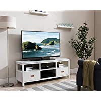 Kings Brand Furniture 54 White Finish Wood TV Stand Entertainment Center with Storage