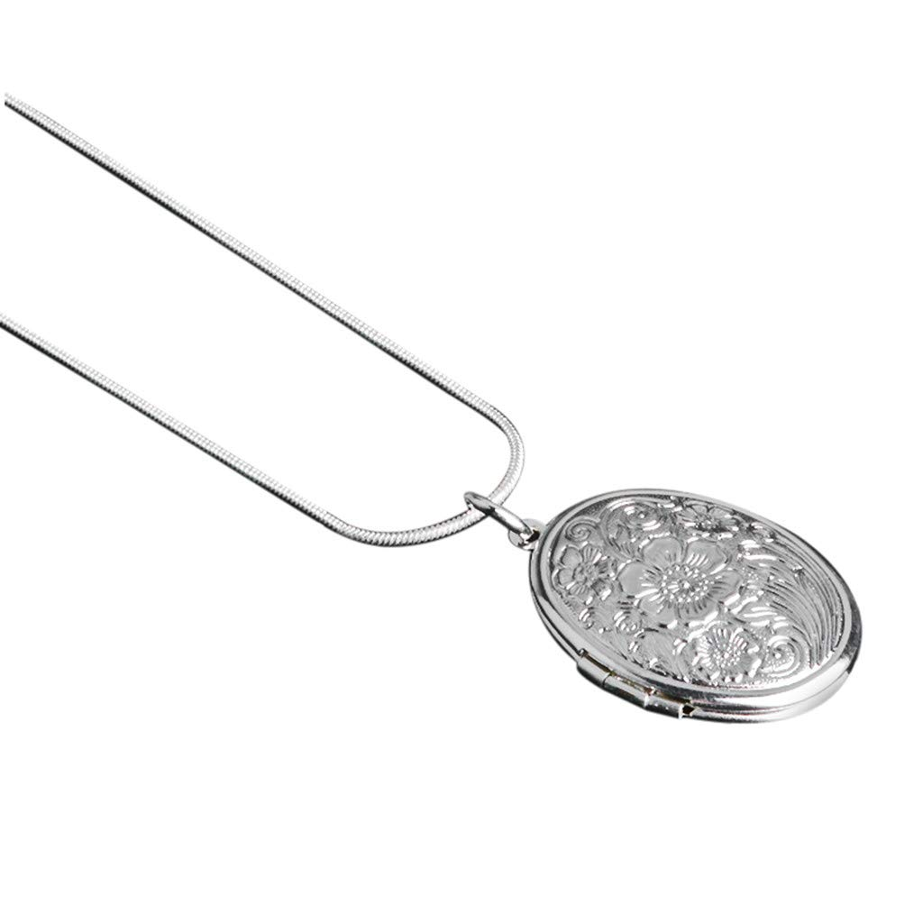WaiiMak Pendant Mother's Day Jewelry Woman 925 Sterling Silver Chain Necklace Box Snake Chain Jewelry Fashion Rose Round Locket Necklace (Multicolor)
