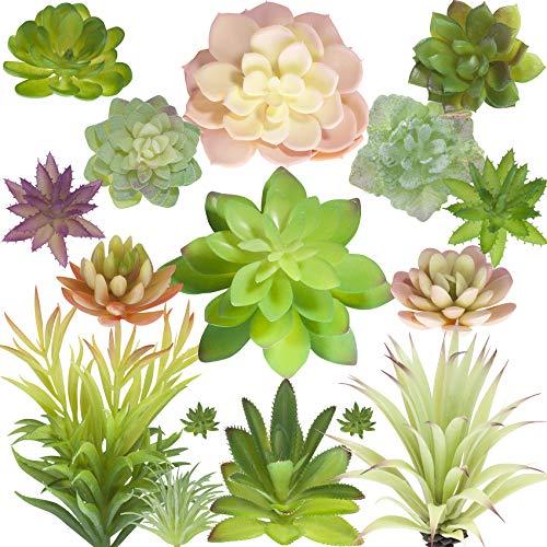 Succa Feaux Succulent Plants Unpotted - Set of 16 Face Colorful Artificial Succulents - Large Fake Realistic Silk Succulent Plants Décor - Mini Decorative Faux Succulents