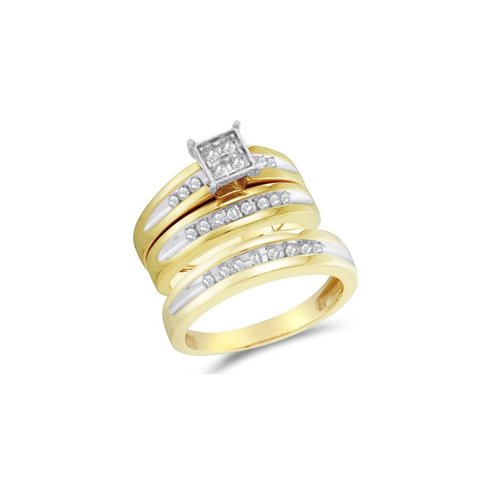 Size 5   10K Two Tone Gold Diamond Mens and Ladies His & Hers Trio 3 Three Ring Bridal Matching Engagement Wedding Ring Band Set   Square Princess Shape Center Setting w/ Pave Channel Set Round Diamonds   (.36 cttw)   SEE PRODUCT DESCRIPTION TO CHOOSE BO