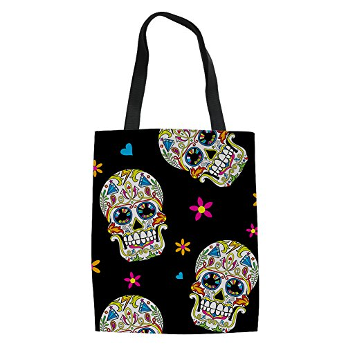 INSTANTARTS Cartoon Sugar Flower Skull Women Reusable Grocery Shopping Tote Canvas Shoulder Bag