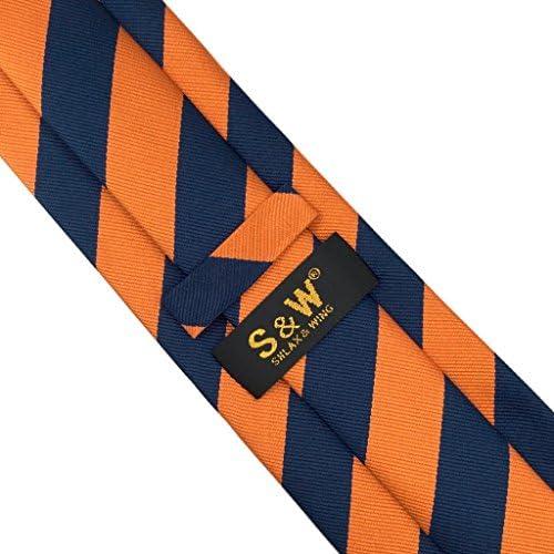 S/&W SHLAX/&WING Neu Krawatte Herren Streifen Blau Braun Gesch/äftsanzug