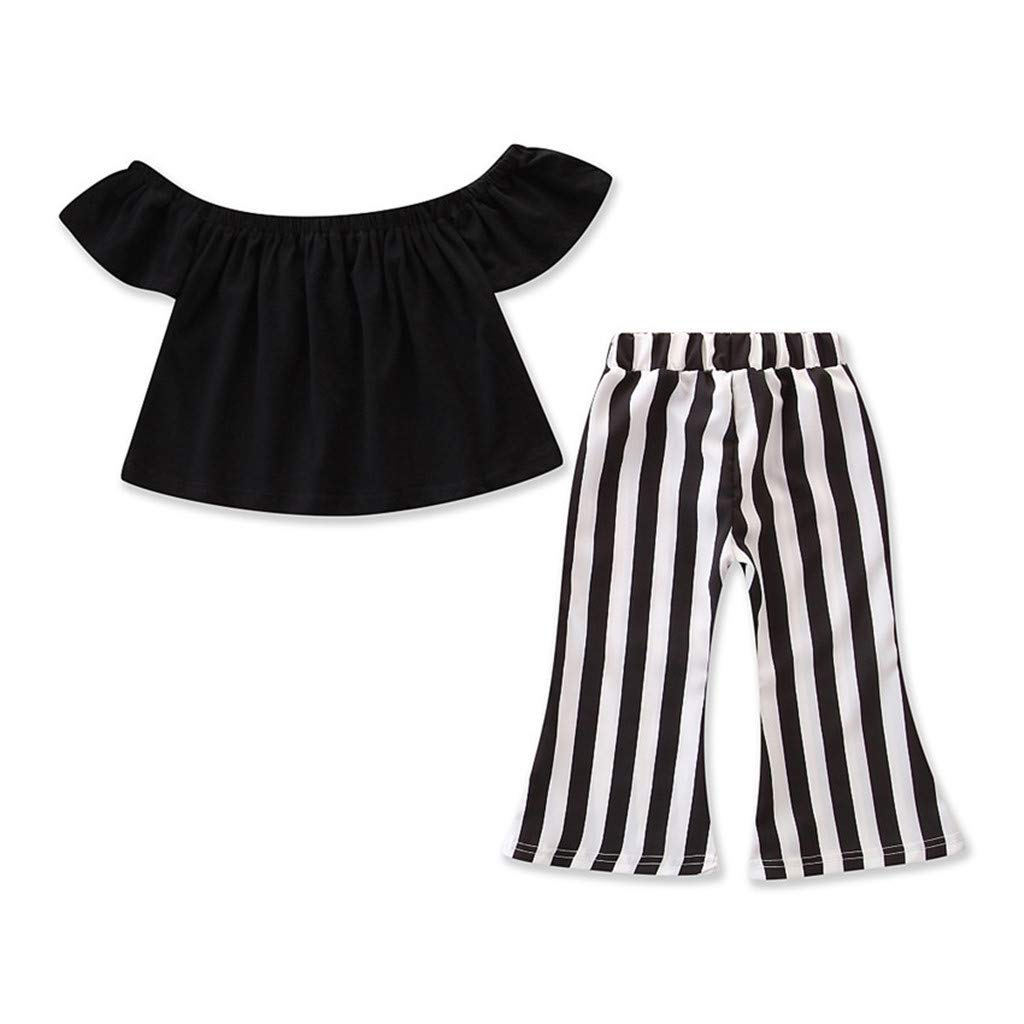 Jchen Family Matching Valentine Suit Mother and Me Off Shoulder Tops+Striped Pants Parent-Child Outfits for Holiday (Age:4-5 Years Old, for Daughter)