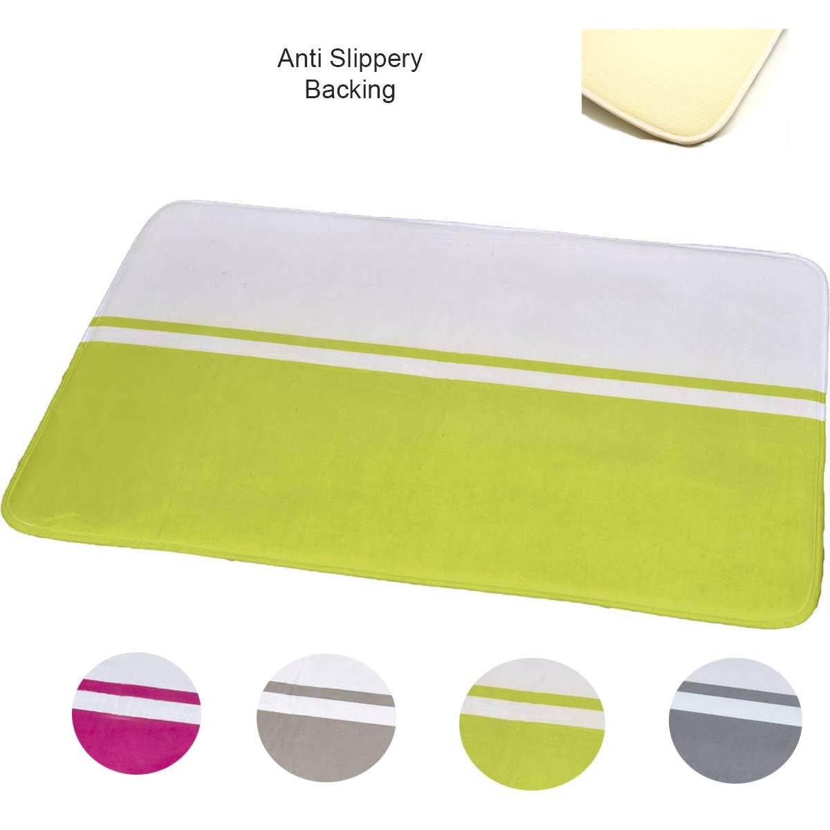 White//Fuchsia 36 L x 24 W x 1 H EVIDECO 7709216 Design Microfiber Bath Mat Area Rug Two-Colored