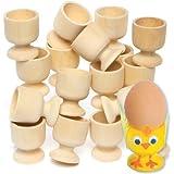 Eierbecher aus Holz zum Bemalen und Dekorieren für Kinder zum Basteln zu Ostern (6 Stück)