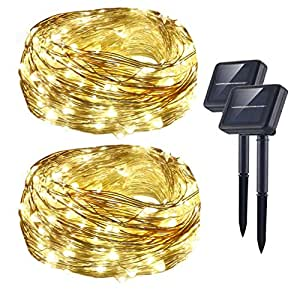Solar String Lights (72 ft, 200 LED, Waterproof, 8 Modes), AICase Starry Fairy Bendable Copper Wire Durable Outdoor String Lights for Garden, Patio, Home, Dancing, Wedding, Christmas Party (2 x White)