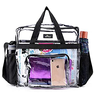 Clear Bag Stadium Approved, Transparent Tote Bag and Gym Clear Bag, See Through Tote Bag for Work, Sports Games and Concerts-12 x12 x6 (Black)