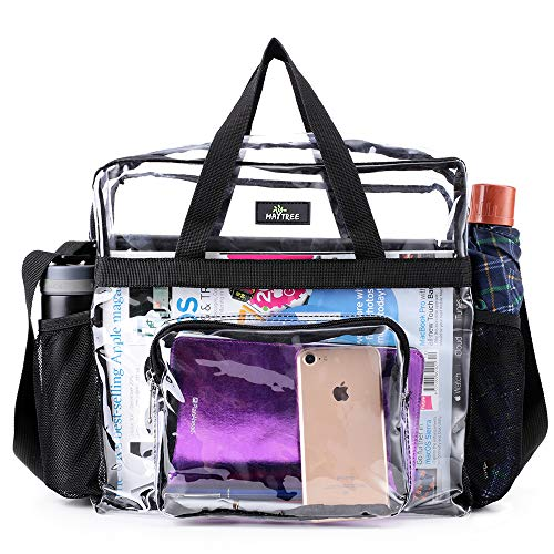Clear Bag Stadium Approved, Waterproof Lightweight and Two Water Bottle Holders, Transparent Tote Bag and Gym Clear Bag, See Through Tote Bag for Work, Sports Games and Concerts-12 x12 x6