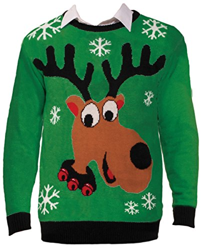 Ragstock Unisex New Christmas Sweaters, Reindeer-L
