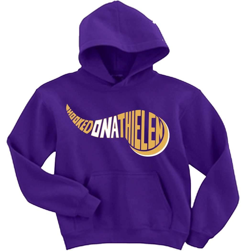 wholesale dealer d4148 eea0b Amazon.com: Purple Minnesota Thielen Hooked on Hooded ...