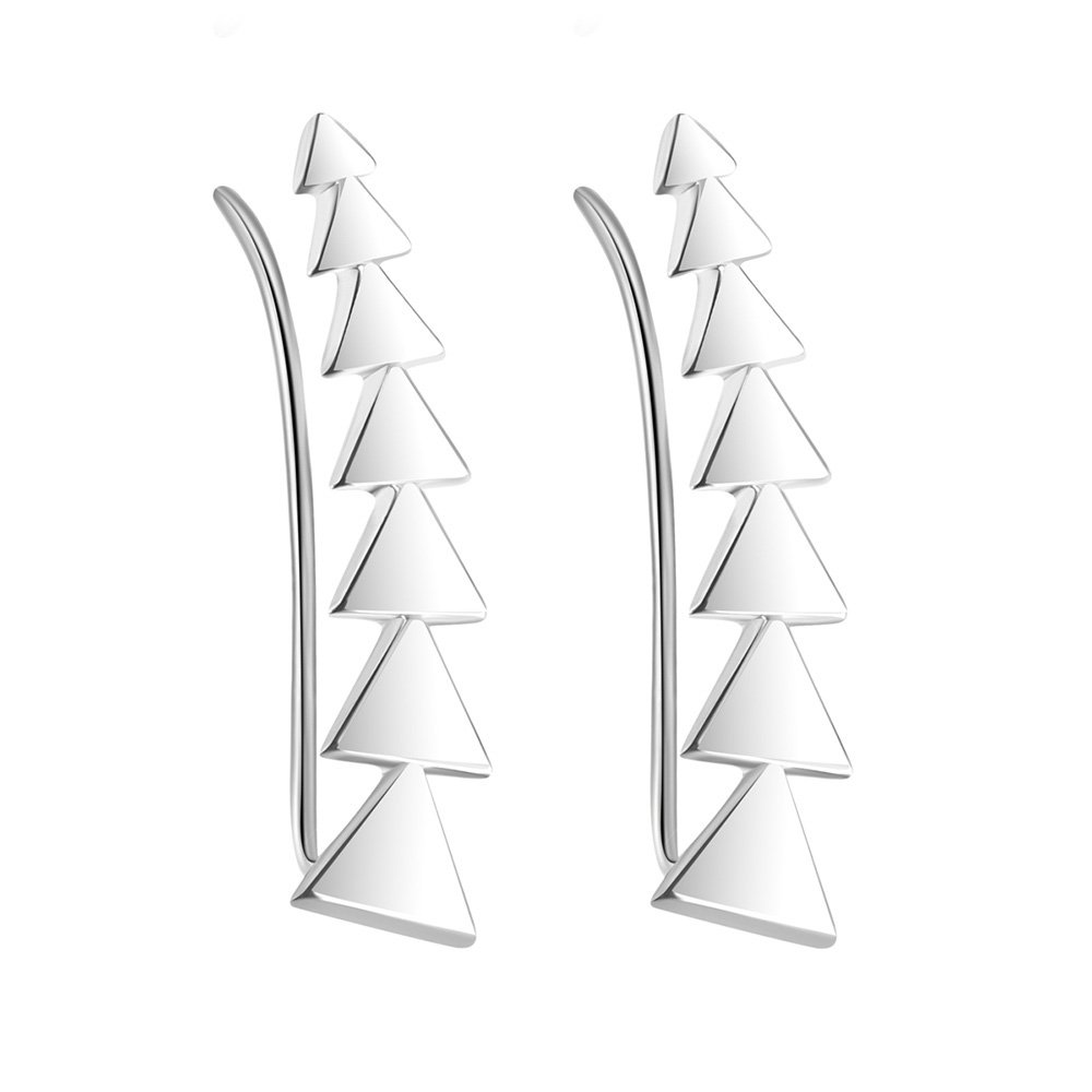 Sterling Silver Minimalist Triangle Ear Climbers Geometrical Ear Crawlers Ear Sweeps