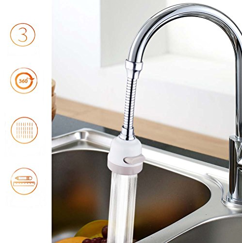Water Faucet Spray, ixaer Water Saving Splash Head 3 Modes in One Button Elongated Extension Kitchen Household Tap Water Sprinkler 360° Rotary Filter Adjustable Long Nozzle Convenient for Bathroom Eas by ixaer