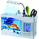 Lywey Mini USB LCD Office Desktop Lamp Light 1.5L Fish Tank Aquarium Kit with LED Clock, Water Recirculation | Halloween Christmas Gifts (White)