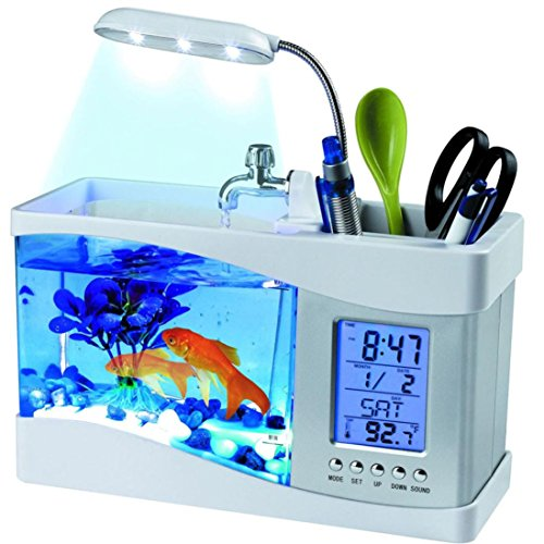 (Lywey Mini USB LCD Office Desktop Lamp Light 1.5L Fish Tank Aquarium Kit with LED Clock, Water Recirculation | Halloween Christmas Gifts (White))