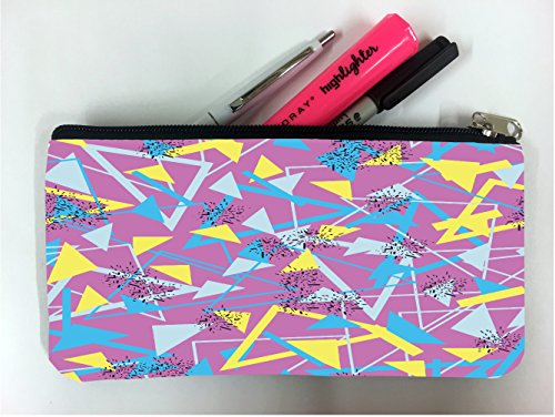 (Yellow and Blue Triangles Retro Design Student Pen Pencil Case Coin Purse Pouch Cosmetic Makeup Bag)