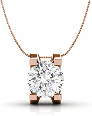 18K Rose Gold Plated Simulated Diamond 2.0 Ct  Round Cut Shiny Halo Necklace