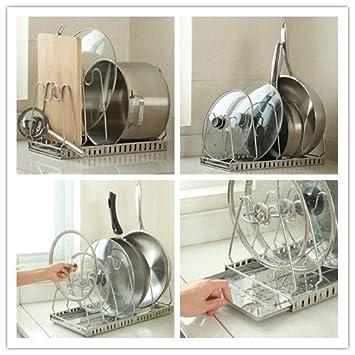 Pan Tapa De Olla Tapa ajustable y soporte para horno accesorio de Metal para tapa de