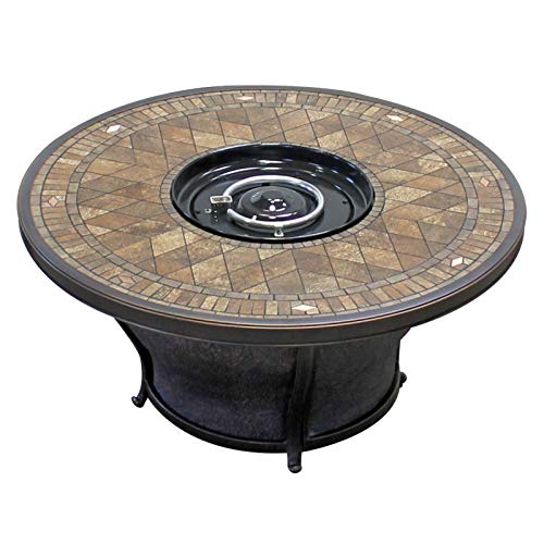 TK Classics FP-Balmoral-KIT Balmoral Round Porcelain Top Gas Fire Pit Table, - 48 Table Tile Inch Top