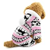 Ranphy Small Dog Cat Clothes for Boy Girl Soft Velvet Reindeer Pattern Dog Pajamas Puppy Hoodie Hooded Jumpsuit Pet Pjs Christmas Costume Pink L