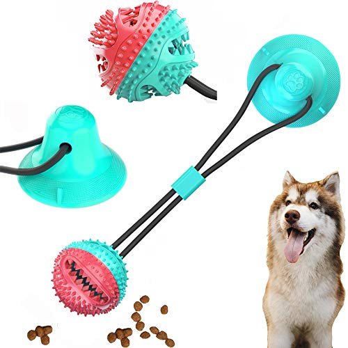 ALAIX New Dog Ropes Toy, Multifunction Pet Molar Bite Toy,Self-Playing Rubber Ball Toy with Suction Cup, Molar Chew Toy Toothbrush Puppy Dental Care Accessory Nontoxic Natural