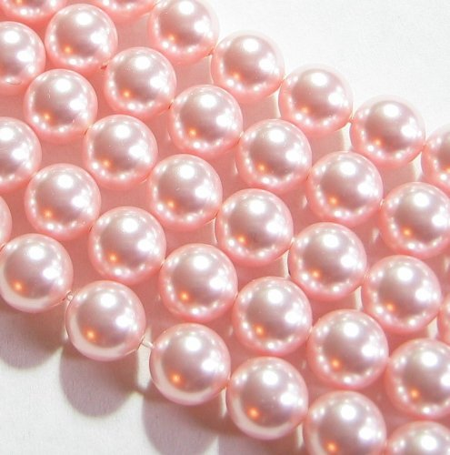 (50 pcs Swarovski 5810 Round Crystal Pearls Rosaline Pink 8mm / Findings / Crystallized Element)