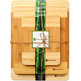 ♻ Extra Thick Eco-Friendly Bamboo Cutting Board Set - 3 Piece set of Thick, Strong, and Durable Bamboo Wood Cutting Board With Beautiful White Edge by Premium Bamboo 6 This cutting board set is made extra thick with beautiful white edges. The set is great for cutting fruits, vegetables, and meats. Our cutting board set is strong, durable, and made from 100% antimicrobial bamboo. The best cutting board that will not dull your knives. Easy to clean and maintain - Use hot water and soap to wash, then let the cutting board air dry. Easier to wash than a wood cutting board and safer than plastic.
