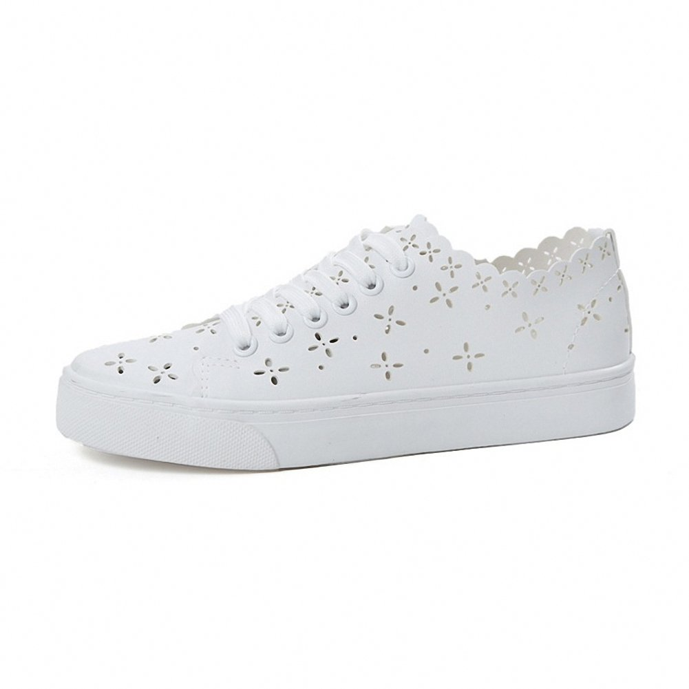 Women's Slip On Hollow-Out Sneakers White Soft Leather Flat Shoes Casual Breathable Floral Sneakers