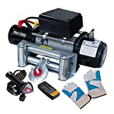 Professional 12000 lbs 6.6 HP Motor Recovery Wireless Remote Control Industry Electric Power Winch Pulling 12 Volt Mounting Plate w/ 4-Way Roller Powerful HorsePower Compact Design