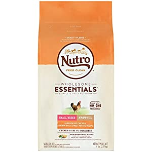 NUTRO WHOLESOME ESSENTIALS  Small Breed Puppy Farm-Raised Chicken, Brown Rice & Sweet Potato Recipe 5 Pounds