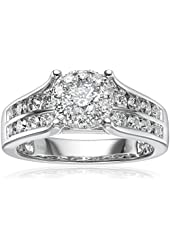 14k White Gold Composite Diamond Engagement Ring (1 1/2 cttw, H-I Color, I1-I2 Clarity), Size 7