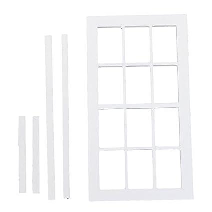 Amazon.com: 1:12 DollHouse Miniature Wooden 12-pane Window Frame ...