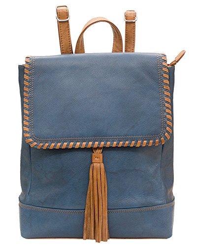 Ili Leather Backpack (ili 6699 Leather Whipstitched Backpack Handbag (Jeans Blue/ Antique Saddle))