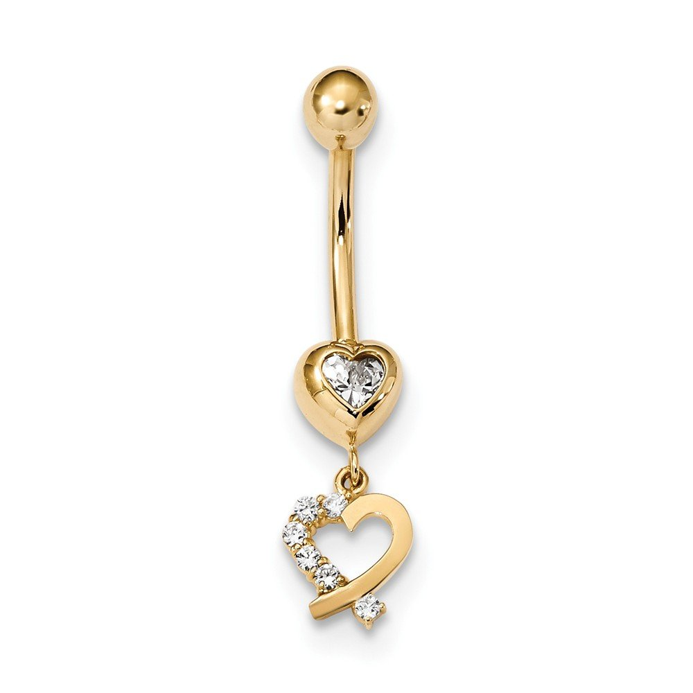 7.65mm 14k Cubic Zirconia 2-hearts Dangle Belly Ring