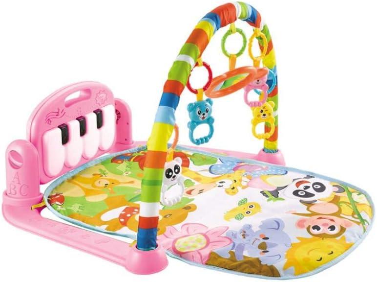Manta de Juego para Beb/é Alfombra Playmat Gym Esterilla de Aprendizaje Intelectual Fitness Alfombra Infantil con M/úsica Pedal Luces Kalavika Gimnasio Piano Pataditas Musical Beb/é Pink