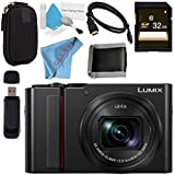 Panasonic Lumix DC-ZS200 DC-ZS200S Digital Camera (Silver) + 32GB SDHC Card + Small Carrying Case + Deluxe Cleaning Kit + Micro HDMI Cable + Memory Card Wallet + Card Reader + Fibercloth Bundle