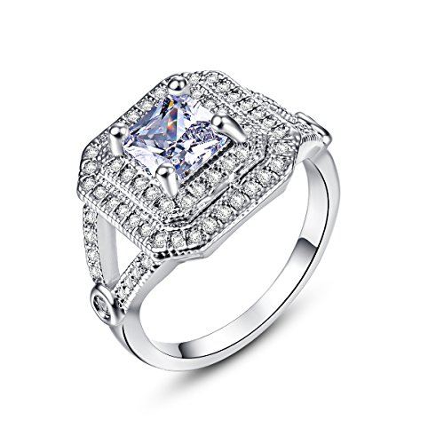 Empsoul 925 Sterling Silver Natural Novelty Plated Princess Cut White CZ Topaz Halo Wedding Ring
