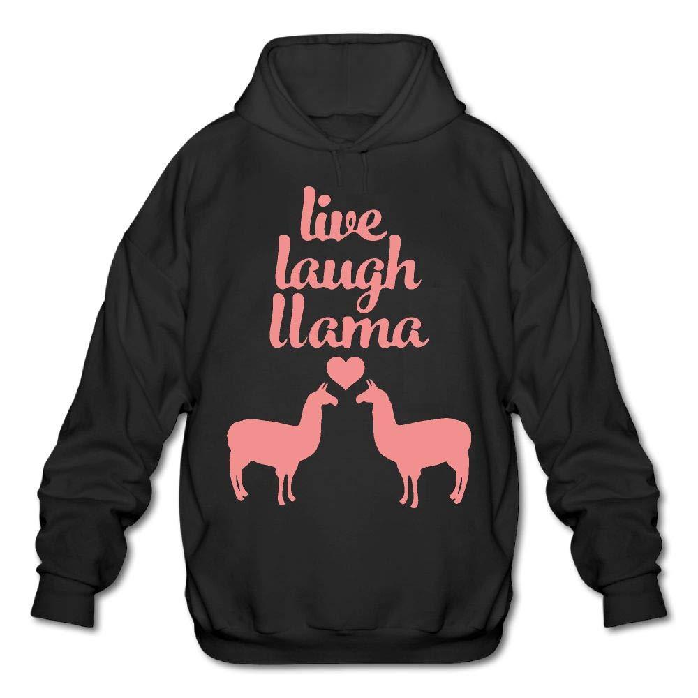 Adult Live Love Laugh Llamas Graphic Fleece Hoody Pullover Sweatshirt