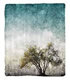 Chaoran 1 Fleece Blanket on Amazon Super Silky Soft All Season Super Plush Tree of Life Decor Collection Grunge Lscape withingle Tree tained Retro Background Rustic Home Fabric et Teal Beige
